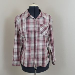Plaid Flannel Shirt with Rose Applicays SZ XL